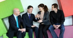 At the Science Gallery in Dublin were director general of Science Foundation Ireland Prof Mark Ferguson,  Minister of State for Research Seán Sherlock, and   Tia Keyes and Dr Nick Bennett of DCU. Photograph: Jason Clarke Photography