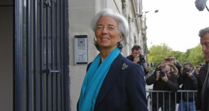 Christine Lagarde arrives at a court for hearing in Paris yesterday. Photograph: Jacques Brinon/AP
