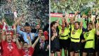 Bayern Munich and Borussia Dortmund players celebrate on the last occasions they won the Uefa Champions League in 2001 and 1997 respectively. Photographs: Reuters