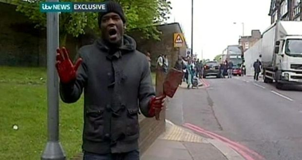 Michael Adebolajo, with bloodied hands, speaks into a phone camera following the killing in Woolwich, London, of Drummer Lee Rigby on Wednesday. Photograph: ITV/PA