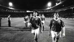 Andy Townsend and Ray Houghton leave the field after the 1-1 draw with England at Wembley in 1991. Photograph: Inpho/ Billy Stickland