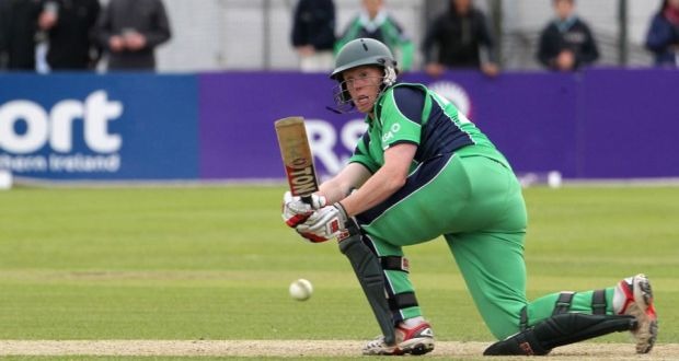 Kevin O'Brien secures a tie for Ireland off Pakistan's last ball at Clontarf yesterday.