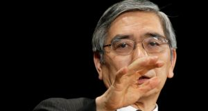 Bank of Japan Governor Haruhiko Kuroda speaks at the International Conference on the Future of Asia in Tokyo today. Photograph: Toru Hanai/Reuters.