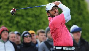 Francesco Molinari  tees off on the first hole during the second round of the BMW PGA Championship on the West Course at Wentworth. Photograph: David Cannon/Getty Images
