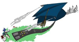 Up and away: graduates are again facing the possiblity of having to emigrate. Illustration. Éna Brennan