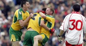 Colm McFadden of Donegal celebrates his goal with Christy Toye and Brian Roper in 2004, when Donegal beat All-Ireland champions Tyrone. Photograph: Andrew Paton/Inpho