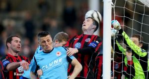 Bohemians goalkeeper Dean Delany under pressure last night. Photograph: Ryan Byrne/Inpho