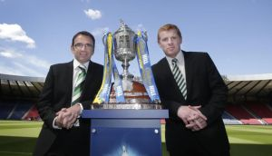Hibernian manager Pat Fenlon and Celtic manager Neil Lennon during the media call at Hampden Park, Glasgow.  Photograph: Danny Lawson/PA Wire