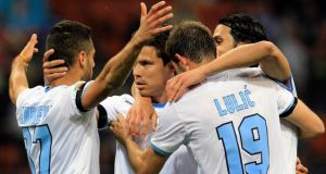 Lazio players have been the subject of death threats in the run up to the Italian Cup final against Rome rivals AS Roma. Photograph:  Alessandro Garofalo/Reuters