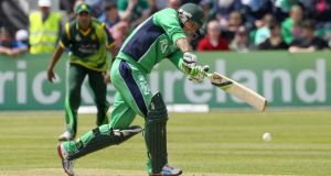 Ireland's Ed Joyce batting in Clontarf today. Photograph: Kieran Murray/Inpho