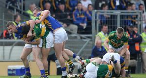 This scuffle during Kerry's win over Tipperary was about as evenly matched as it got in Killarney. Photograph: Lorraine O'Sullivan/Inpho