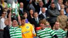 Celtic's captain Scott Brown lifts the trophy following their Scottish Cup Final  win over Hibernian at Hampden Park. Photograph: Russell Cheyne/Reuters