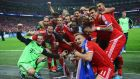 The Bayern Munich players celebrate after Saturday night's victory in the  Uefa Champions League final against Borussia Dortmund at Wembley. Liam Brady had forecast a few months ago Bayern would emerge victorious. Photograph: Getty Images