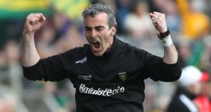 Jim McGuinness celebrates a score at Ballybofey yesterday. Photograph: Inpho/Russell Pritchard