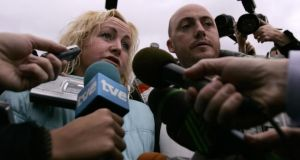 Audrey Fitzpatrick, mother of Dean and Amy Fitzpatrick, and Dave McMahon, stepfather of the siblings, talk to the media after the disappearance of Amy in January 2008.  Photograph: Jon Nazca/Reuters