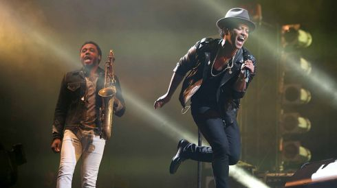 Bruno Mars gives it his all. Tasty looking (tenor?) saxophone too. Photograph: Niall Carson/PA Wire