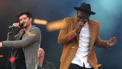 Labrinthine: Danny O'Donoghue of The Script  performs with Labrinth. Photograph: Niall Carson/PA Wire