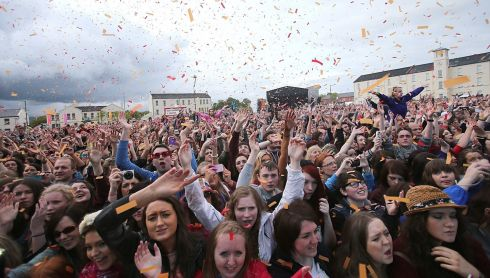 Unscripted: Going mad in Derry for The Script. Cleaning up all that flying stuff afterwards isn't in The Script, but. Photograph: Niall Carson/PA Wire