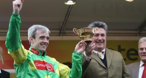 Ruby Walsh and Paul Nicholls celebrate Kauto Star's victory in the  Cheltenham Gold Cup in 2009. Photograph: David Davies/PA