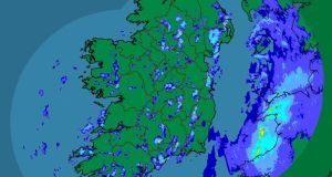 A Met Eireann satellite image showing scattered rainfall over Ireland this afternoon