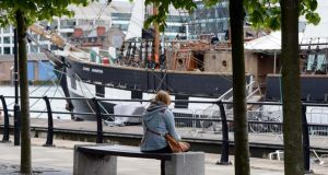Sitting beside the Jeanie Johnson on the river Liffey in Dublin  today. Photograph: Eric Luke/The Irish Times