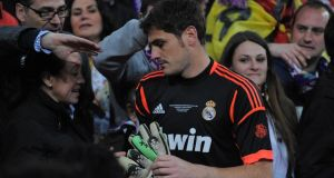 Real Madrid goalkeeper  Iker Casillas has been named in the Spain squad for their end of season campaign despite being out of favour at Real Madrid. Photograph: Denis Doyle/Getty Images