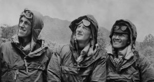 The first conquerors of Everest, Edmund Hillary (left) and Sherpa Tenzing Norgay (right), with expedition leader Colonel John Hunt (centre) in Katmandu, Nepal, after descending from the peak . Photograph: PA Wire