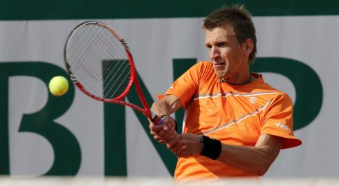 Right back atcha, Paul-Henri, says Jarkko. Photograph: Philippe Wojazer/Reuters