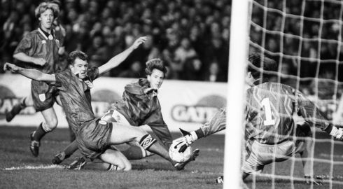 David Kelly scores for Republic of Ireland, a moment that was soon overshadowed by events off the pitch. Photograph: Frank Miller/The Irish Times
