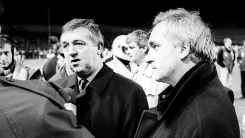Media questions for then minister for sport Bernard Allen (left), with  Bertie Ahern, who later became taoiseach, at right.