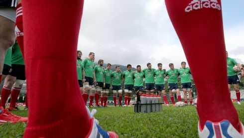 The squad listen up at Hong Kong's Aberdeen Sports Ground. Photograph: Dan Sheridan/Inpho