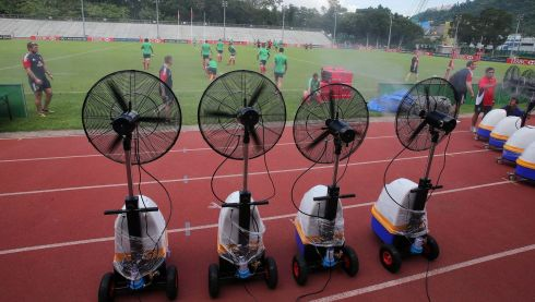 Ain't no messing going on out there! Portable air conditioning units at work during the training. Photograph: Dan Sheridan/Inpho