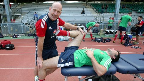 Physio Phil Pask with Mike Phillips.  Photograph: Dan Sheridan/Inpho