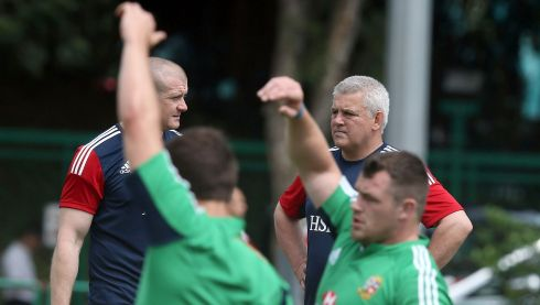 Assistant coach Graham Rowntree with head coach Warren Gatland, to the rear. Photograph: Dan Sheridan/Inpho