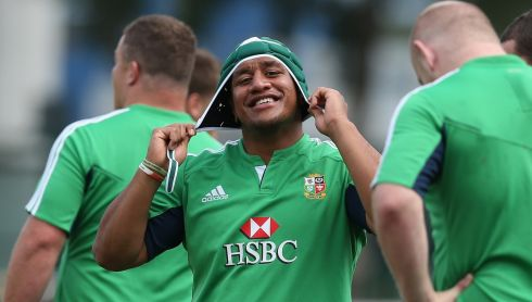 Mako Vunipola gets the scrumcap on. Photograph: David Rogers/Getty Images