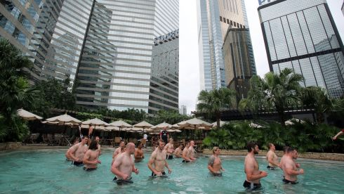 The Lions recovery session in the pool at the Grand Hyatt hotel in Hong Kong. Photograph: Dan Sheridan/Inpho