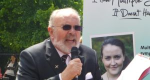 Senator David Norris speaking at an event to mark World MS Day today.