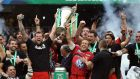 Toulon's Jonny Wilkinson lifts the Heineken Cup with Joe van Niekerk at the Aviva Stasdium.  Photograph: Dan Sheridan/Inpho