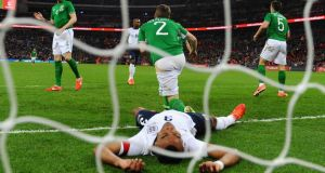 England defender Ashley Cole is despondent after a missed chance during Wednesday night's friendly international against the Republic of Ireland  at Wembley Stadium. Photograph:  Mike Hewitt/Getty Images