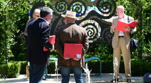Competition judges examine detail at the Giardino della Mostra display by Tim Austen, on show at Bloom.  Photograph: Bryan O'Brien/The Irish Times