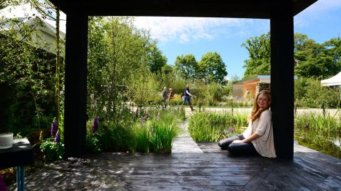 Garden designer Leonie Cornelius with her creation, A Love Letter To The West, at Bloom. Photograph: Bryan O'Brien/The Irish Times