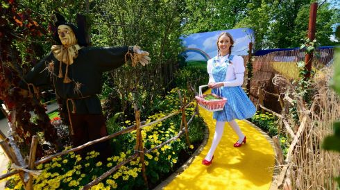 Olivia Ball dresses up as Dorothy in the Wizard of Oz Sanctuary Garden by Mark O'Loughlin. Photograph: Bryan O'Brien/The Irish Times