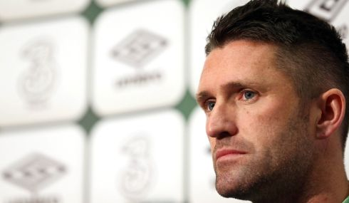 Ireland captain Robbie Keane considers the possibilities at the press conference. Photograph: Donall Farmer/Inpho
