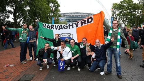 A contingent from the Garvaghy Road in Portadown, Co Armagh, whoop it up outside Wembley. Photograph: John Walton/PA Wire