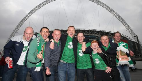 The lads are ready to party ahead of the game. Photograph: Nick Potts/PA Wire
