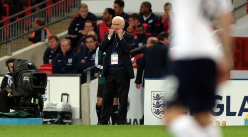 Ireland manager Giovanni Trapattoni gives direction from the sideline. Photograph: Donall Farmer/Inpho