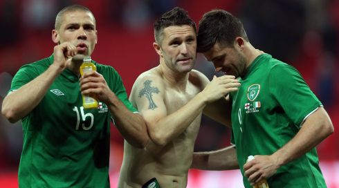 Ireland's Jonathan Walters, Robbie Keane and Shane Long at the end of the encounter. Photograph: Donall Farmer/Inpho