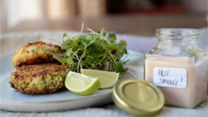 Crabcakes and cocktail sauce. Photograph: Dara Mac Dónaill