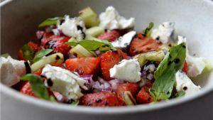 Strawberry and goat's cheese salad. Photograph: Dara Mac Dónaill