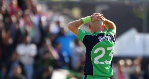 A dejected Trent Johnston at the end of the second RSA Insurance Series ODI at Castle Avenue last Sunday. Photograph:  Kieran Murray/Inpho